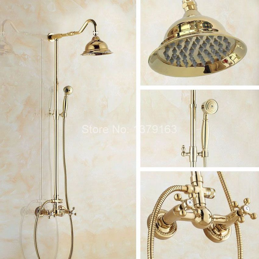 Golden Polished Brass Wall Mounted Bathroom 6 3 Inch Round Rainfall Rain Shower Faucet Set Dual Cr Shower Faucet Sets Bathroom Shower Faucets Shower Mixer Taps