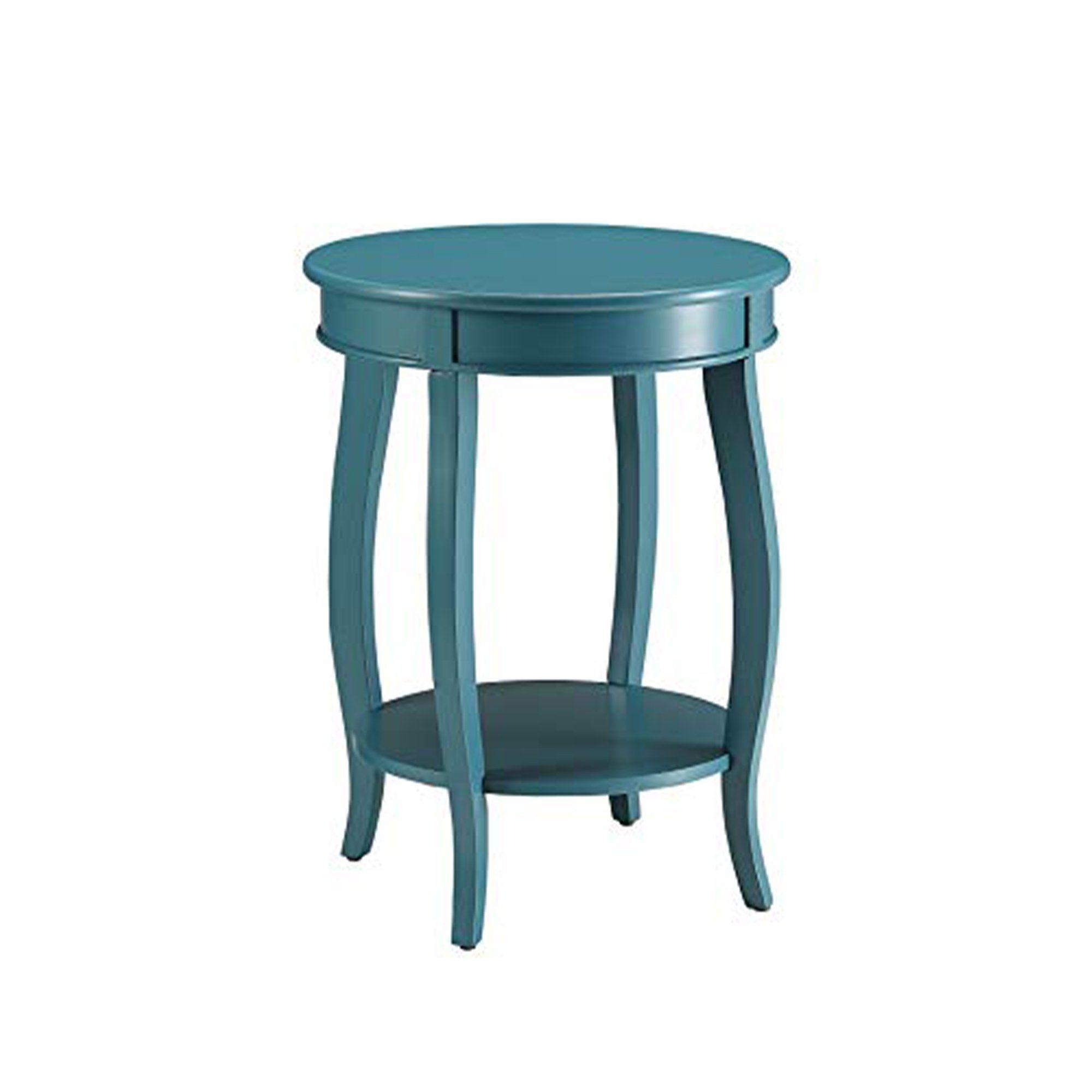 Affiable Side Table Teal Blue Teal Blue Mdf Solid Wood Leg