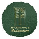 Customizable 50th Anniversary of Ordination Green Round Pillow