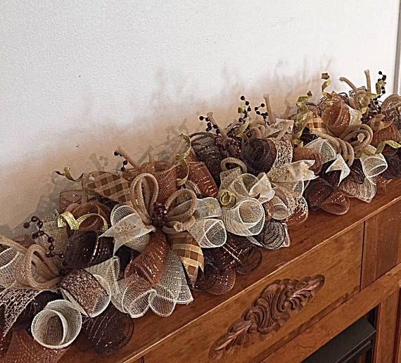 36 Golden Brown and Chocolate Deco Mesh Mantel Arrangement/Brown and Chocolate Swag/Chocolate Gold and Brown Table Runner