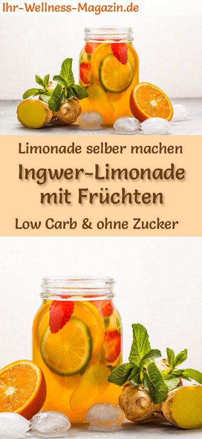 Ingwer-Limonade mit Früchten selber machen - Low Carb & ohne Zucker #easylemonaderecipe