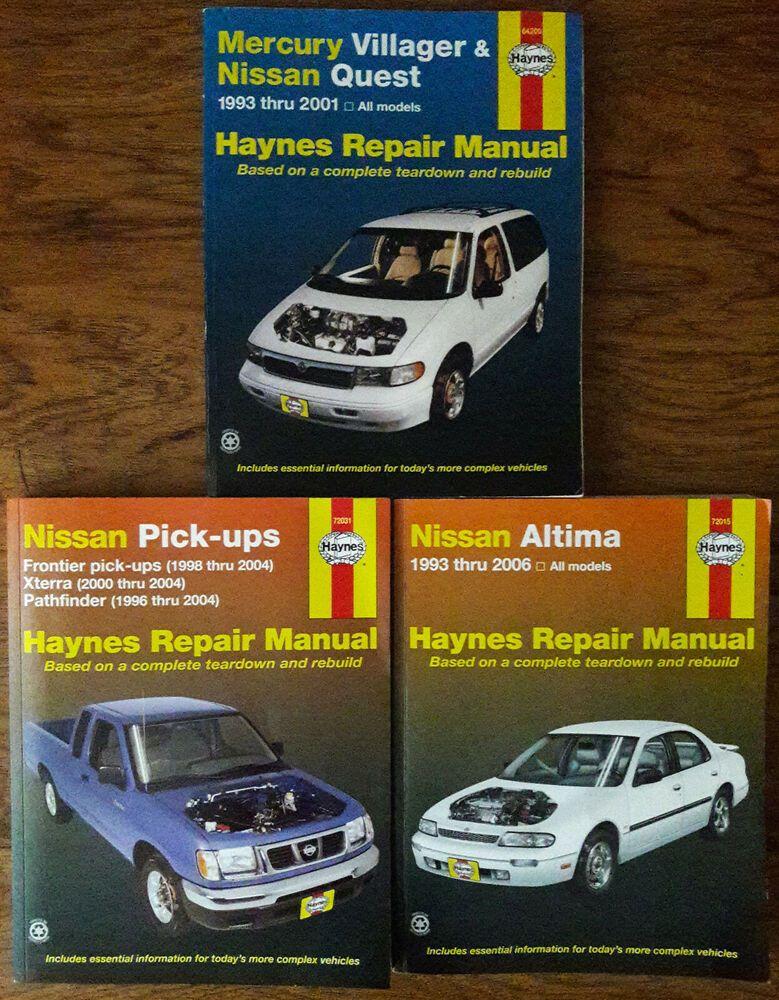 Lot Of 3 Haynes Repair Manuals Nissan Altima Pick Ups Quest Mercury Villager Nissan Altima Altima Nissan