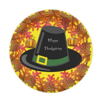 Happy Thanksgiving with Pilgrims Hat Paper Plate - fall decor diy customize  special cyo 54631f1c2ba9