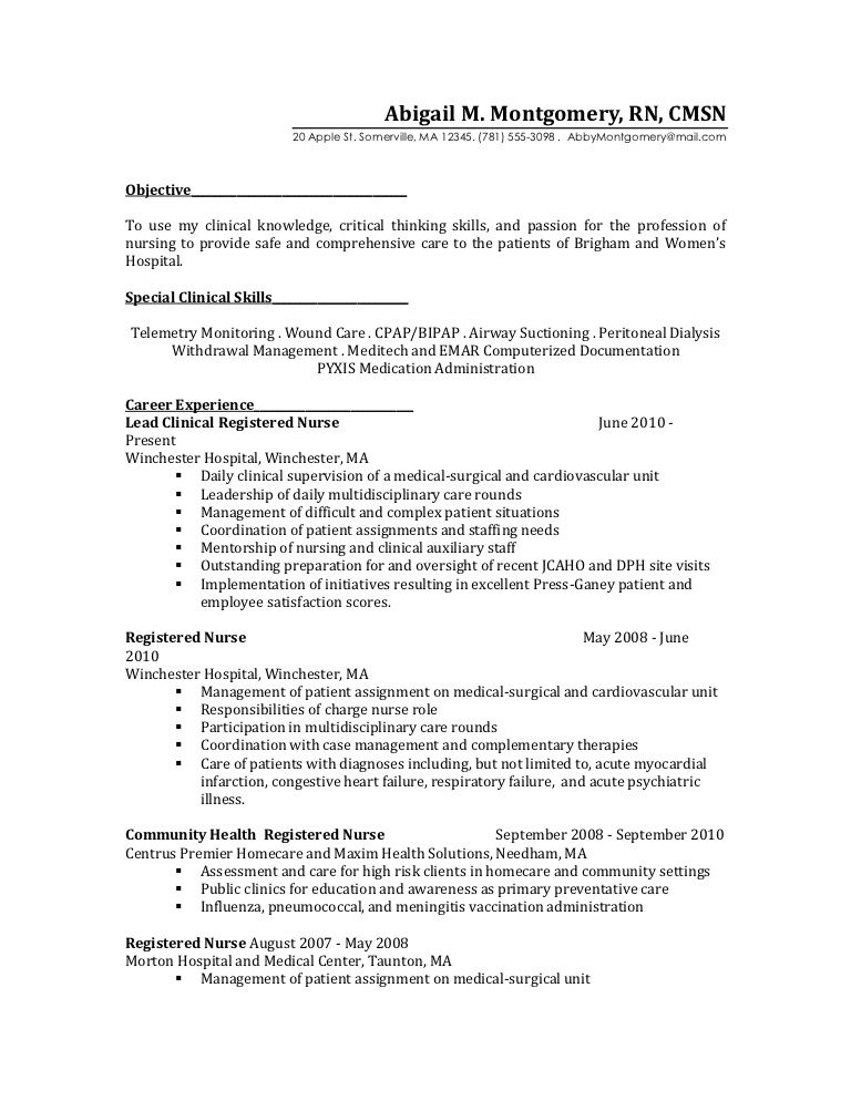 medical surgical nurse resume example