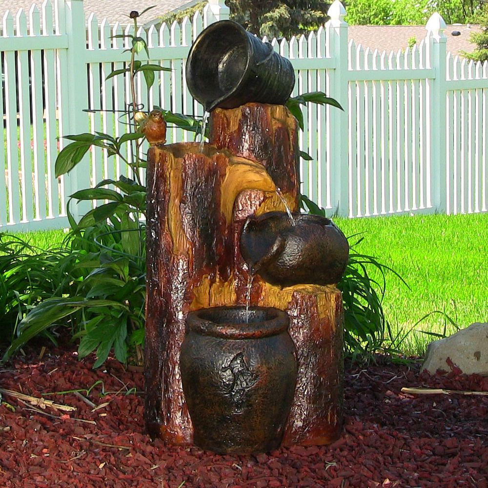 Solar On Demand Water Fountain Log Buckets Outdoor Garden Patio Yard Decor Sunnydaze Air Mancur Water Feature Taman Air