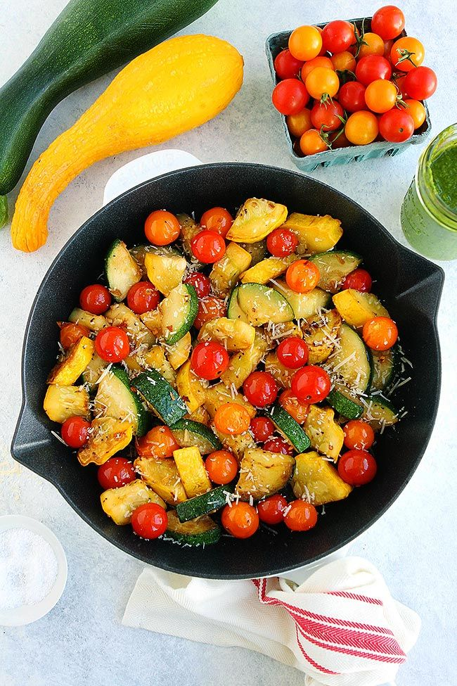 Summer Squash Sauté with tomatoes Parmesan cheese and basil vinaigrette The perfect simple summer side dish