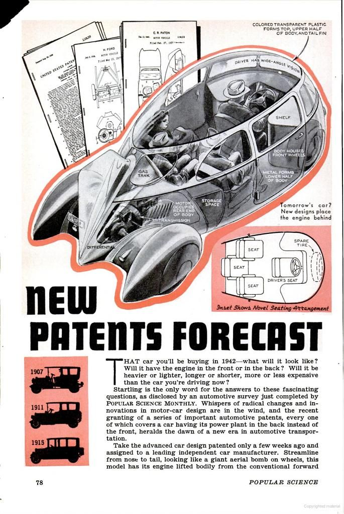 New Patents Forecast, the car of 1942: Popular Science ...