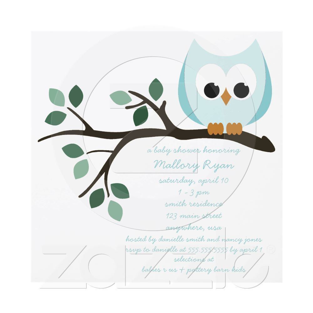 Blue Owl Baby Shower Invitation | Shower invitations, Owl and Babies