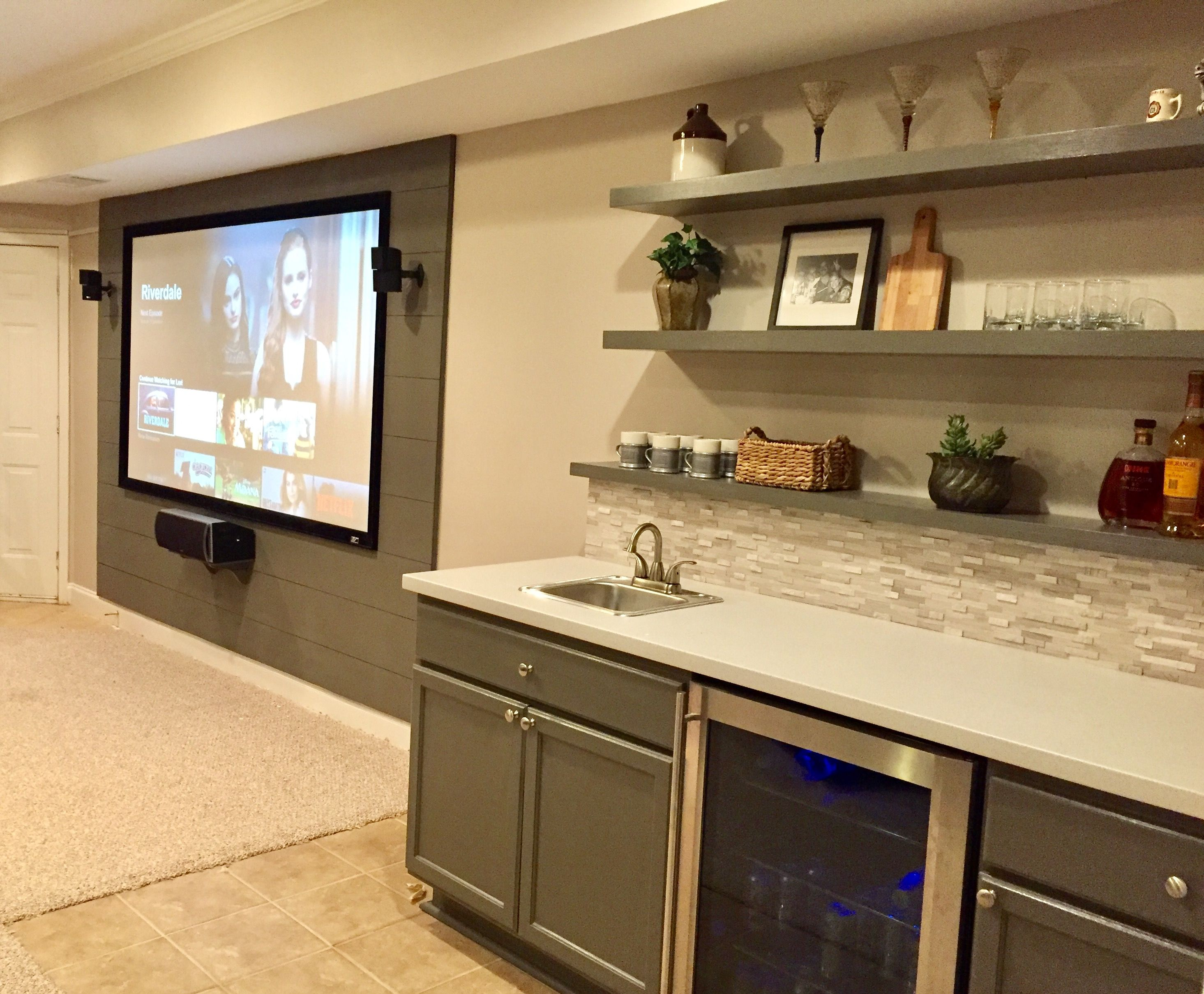 Basement bar and with matching planked wall for home theater screen ...