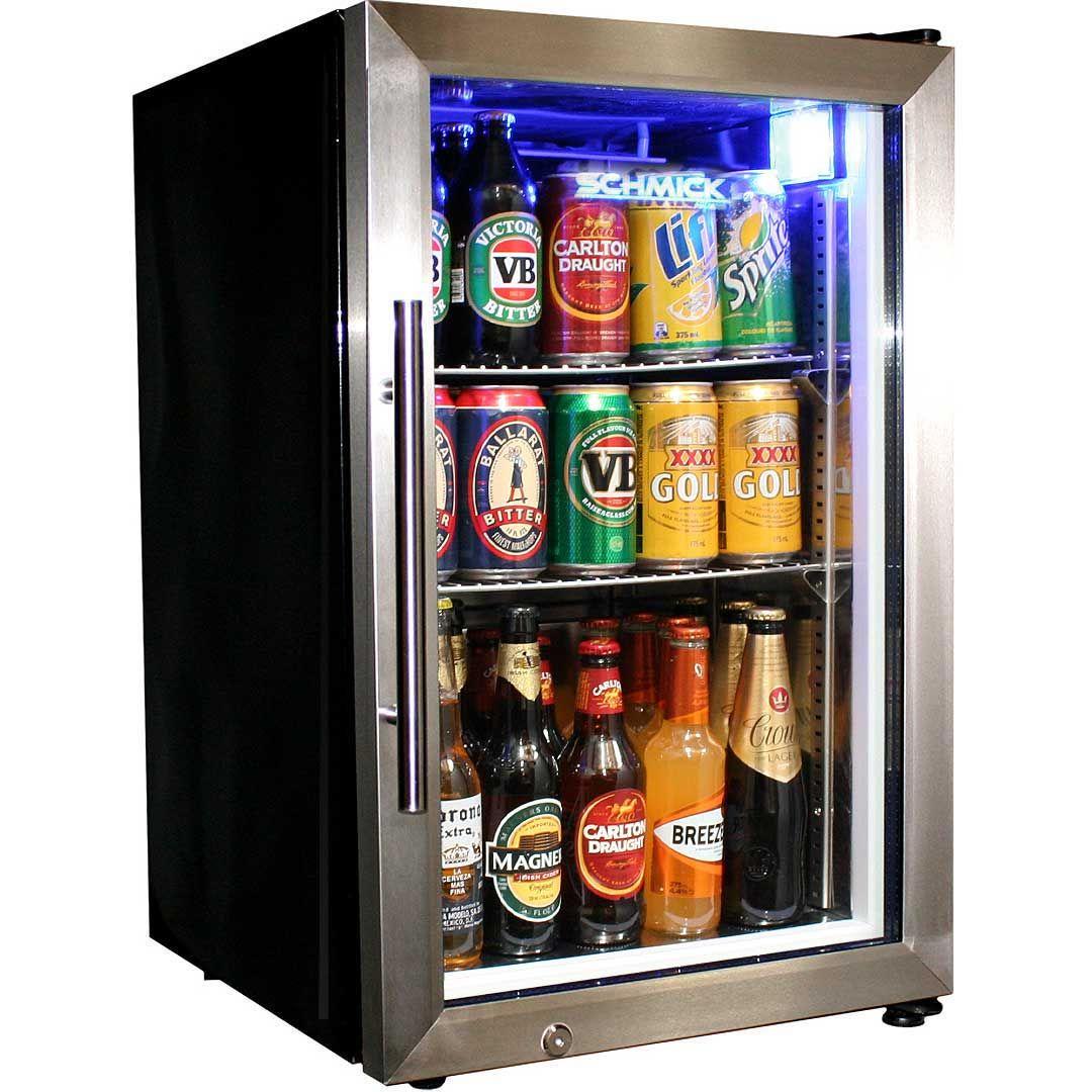 Tropical Glass Door Mini Bar Fridge Chromed Adjustable Shelves Blue