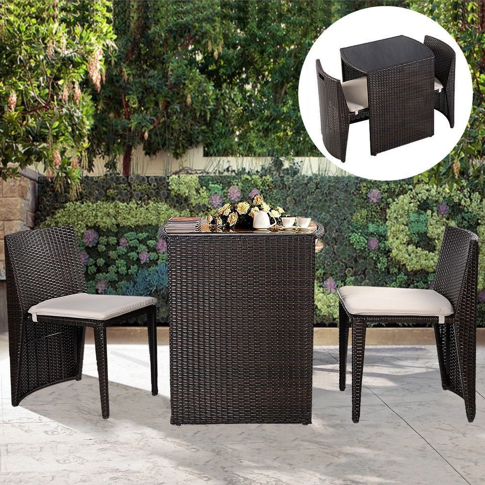 Small Patio Furniture Set Rattan Table 2 Chairs Outdoor Bistro