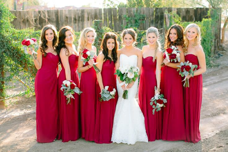 Vestidos para damas de honor en una boda