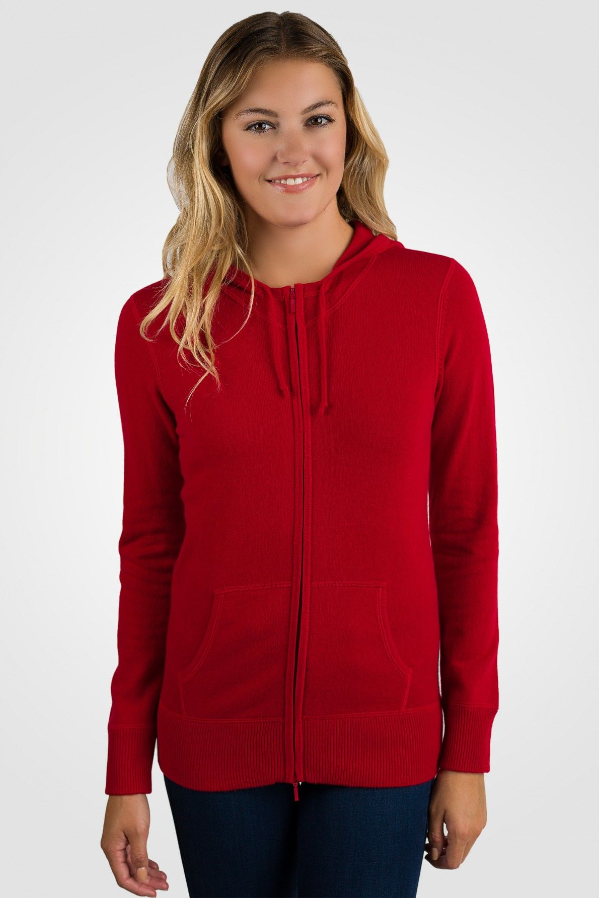 Red Cashmere Long Sleeve Zip Hoodie Cardigan Sweater[ JCashmere ...