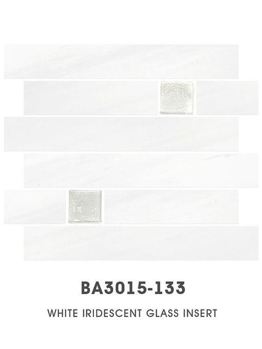White Dolomiti Marble Glass Mosaic Backsplash Tile BA3015