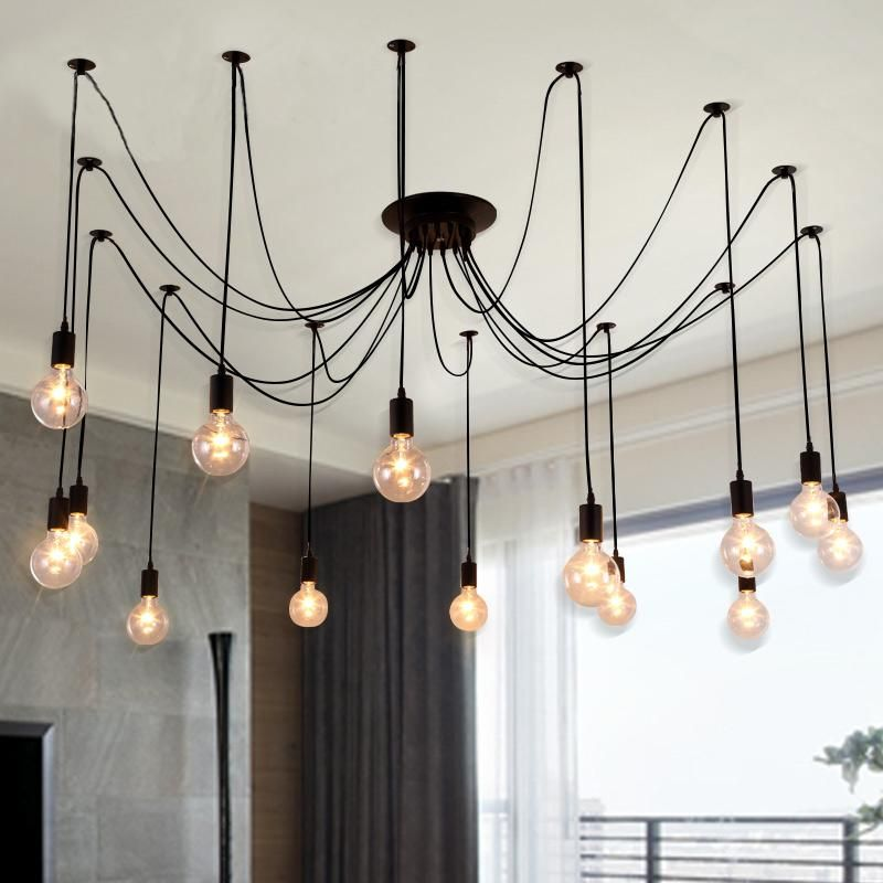 Edison Chandelier Morden Creative Light Bulbs Pendant Loft Office Antique Bar Living Room Fixture