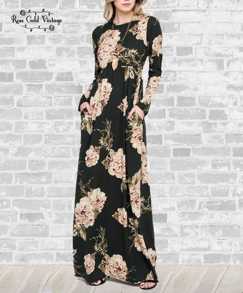 Long sleeve pocket maxi dress black floral products pinterest