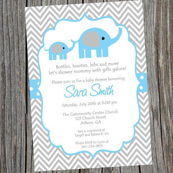 Blue Elephant Baby Shower Invitation. Printable Baby Boy Chevron Elephant Shower  Invitation. Boy Baby Shower Invitation.