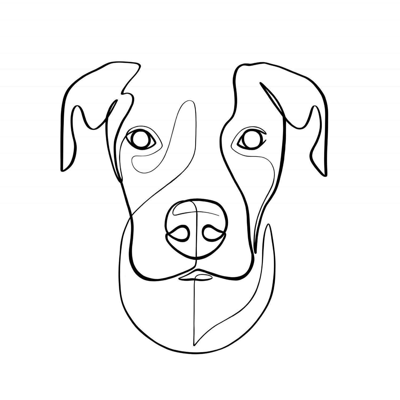 Photo of Custom Dog Portrait, Custom Pet Portrait, Personalized Art Print, Custom Pet Memorial, Animal Wall Art, Dog Line Drawing