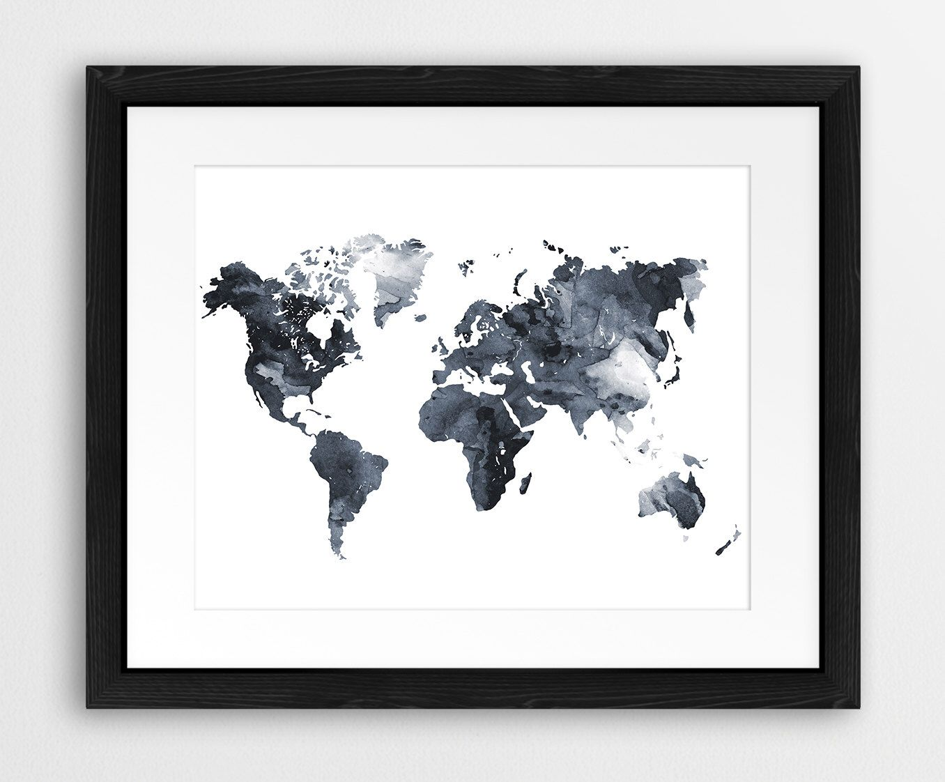 World map watercolor print world map poster watercolor grey black world map watercolor print world map poster watercolor grey black and white modern wall art home office decor travel art printable art gumiabroncs Gallery