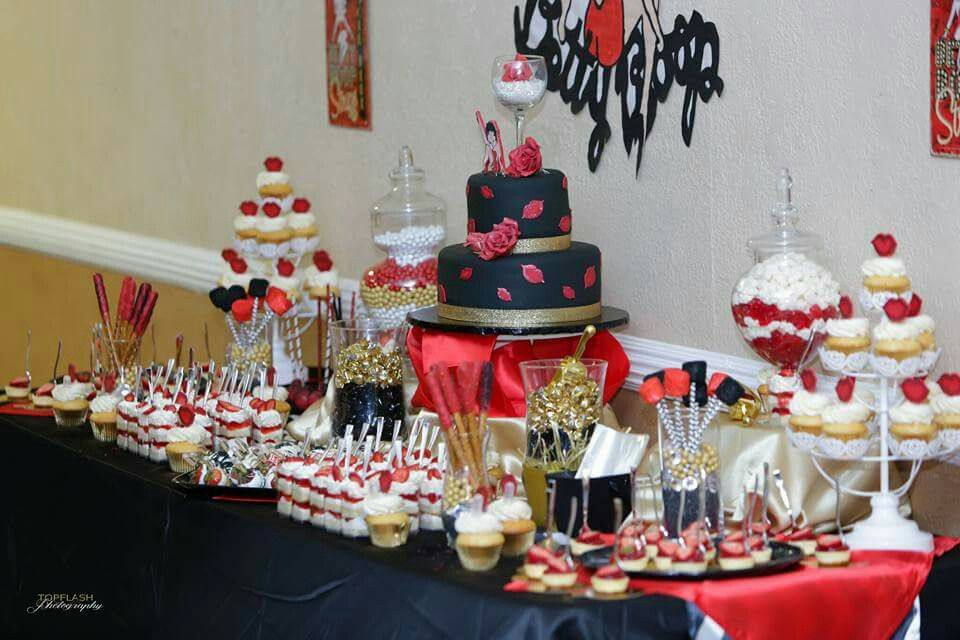 Betty Boop Sweets Table Red White Black And Gold Betty Boop