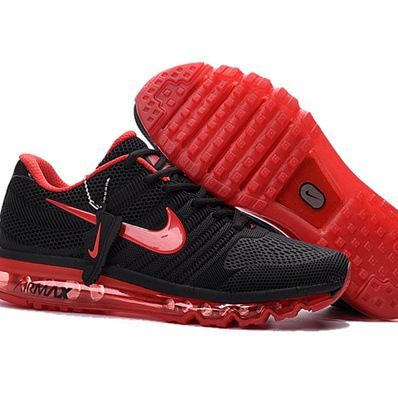 pretty nice 2f620 bc957 Sexy Red Nike Air Max 2017 Black Red Women Men Shoes