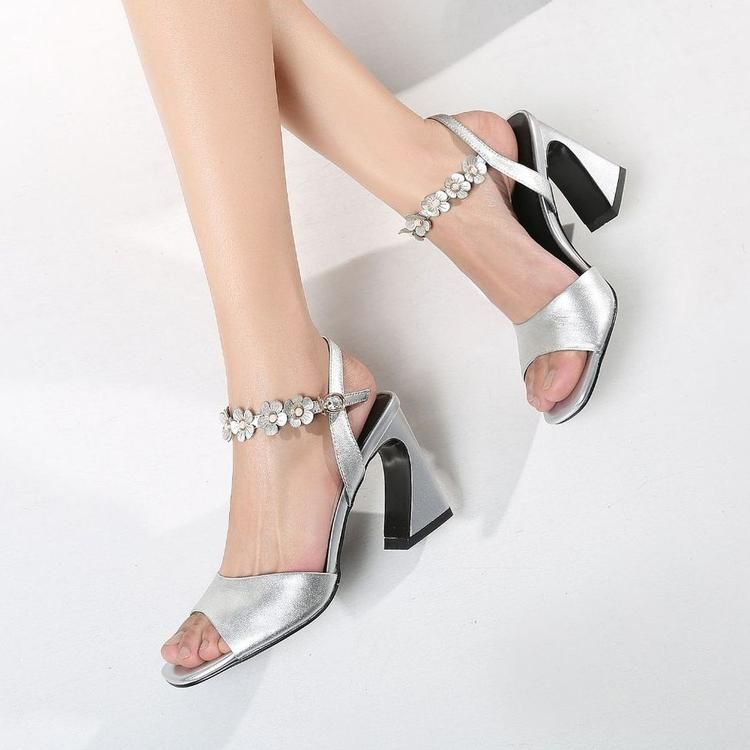 977ed98944b Silver Low Block Heel Sandals With Floral Ankle Wrap in 2019 | Heels ...