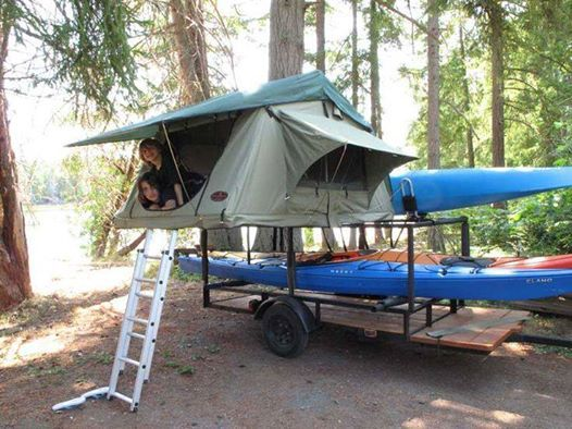 Nice Kayaking Camping Trailer With A Roof Top Style Tent