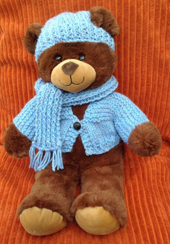 Hand Knit 3piece Set To Fit 16 Inch Build A Bear By Jacknitss