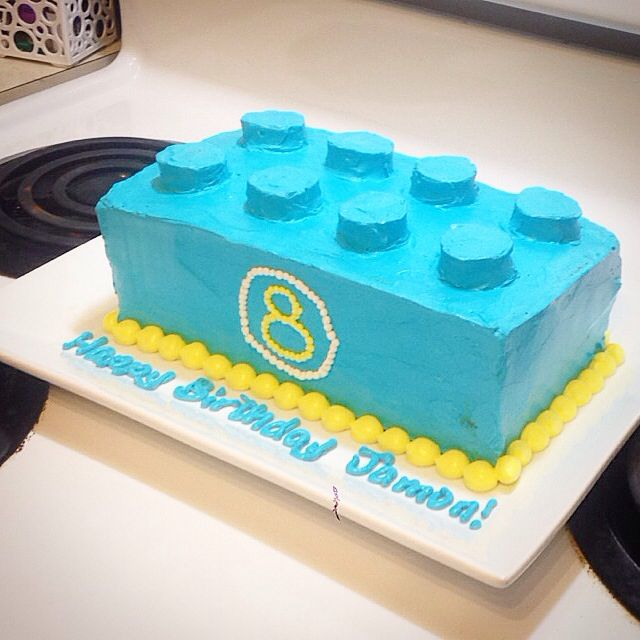 Lego Cake Made With Two Banana Loaf Cake Pans And Mini Oreos On