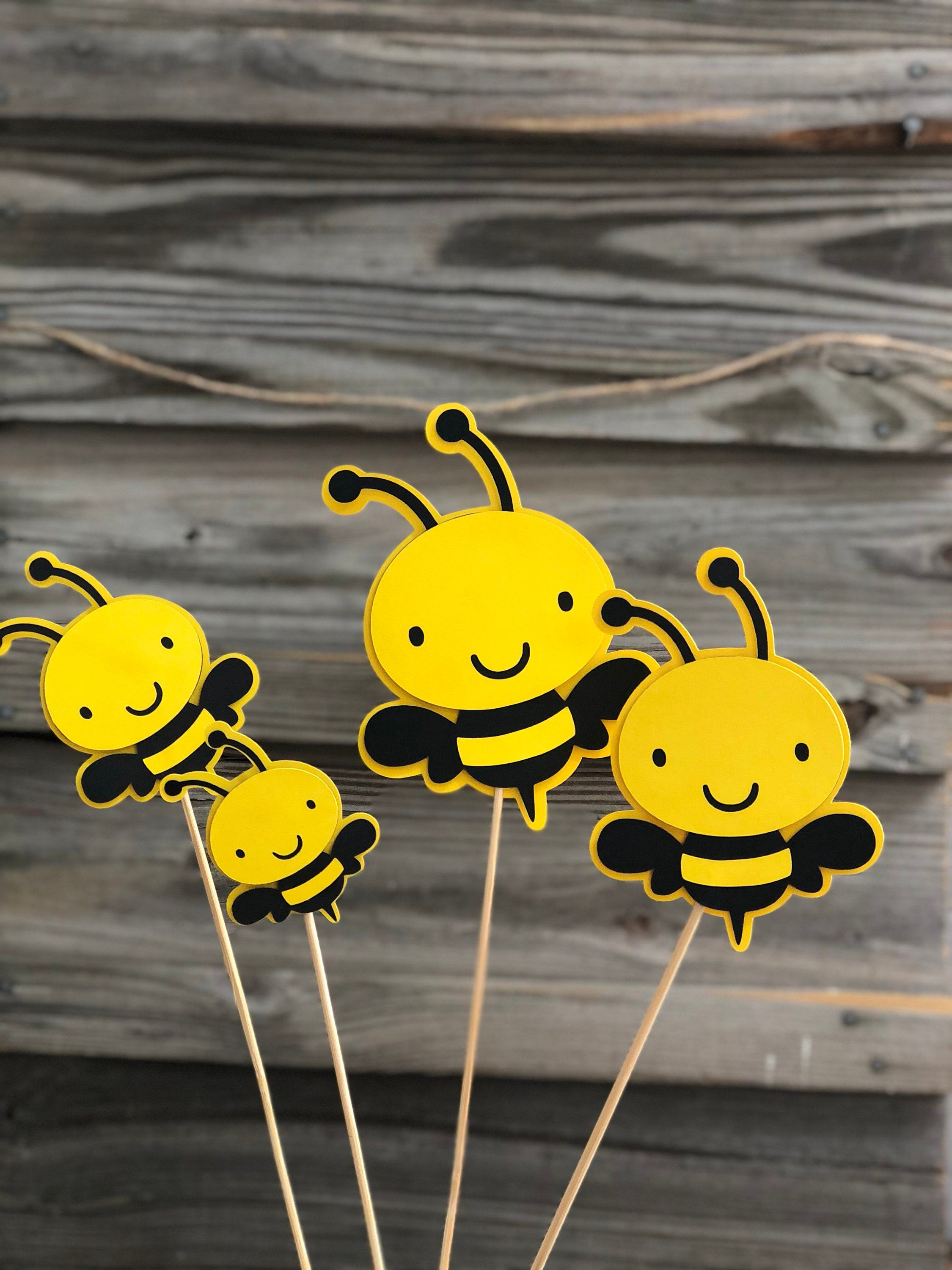 Photo of Set of 6 Yellow and Black BUMBLE BEE Decorations On Wooden Sticks – Birthday Party / Baby Shower – Table Decorations (4 Sizes to Choose From)