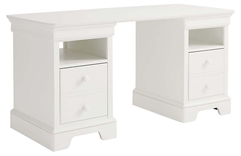 Teaberry Lane Storage Desk Stardust White Stone Leigh Desk With Drawers Desk Furniture Furniture