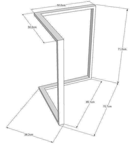 Pieds de Table à manger 28 x 28″ set(2) en métal. Pieds de table moderne. Pieds de Table en fer à partir de bois récupéré. Pieds de Table chevalet