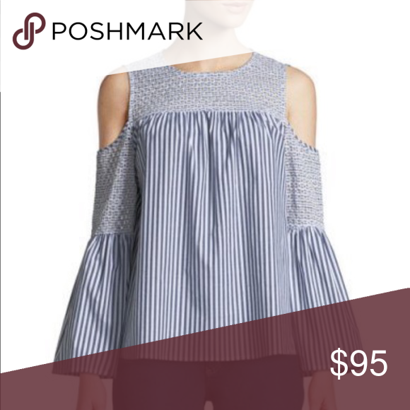 d57ab6810 Michael Kors Eyelet Embroidered Cold Shoulder Top MICHAEL Michael Kors  blouse in striped poplin, featuring
