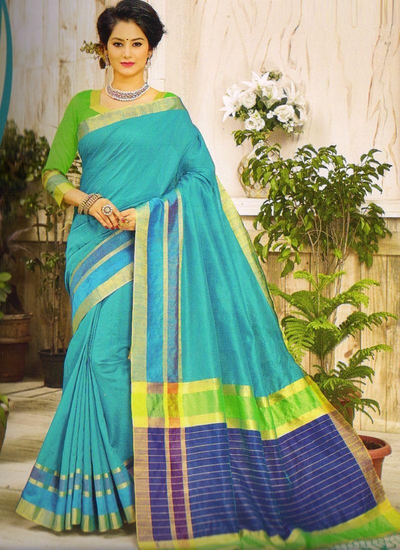 a14e249d7bc609 Shop Banarasi Sky Blue Color Printed Khadi Cotton Saree Online ...