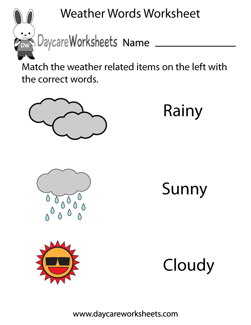 Workbooks weather expressions in spanish worksheets : Preschoolers have to match the words rainy, sunny, and cloudy with ...