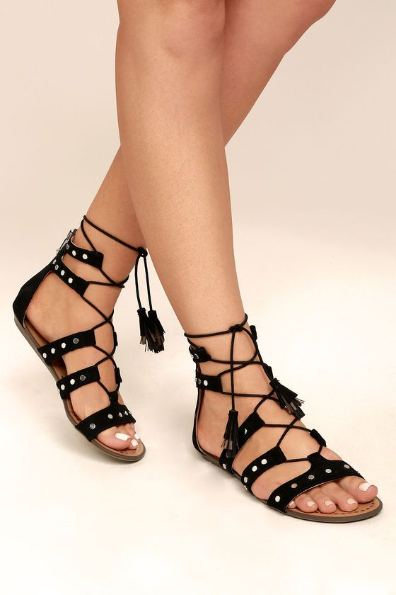 e2465c3413d75f Make the sidewalk sizzle with every step you take in the Report Laurel  Black Suede Gladiator Sandals! Strappy