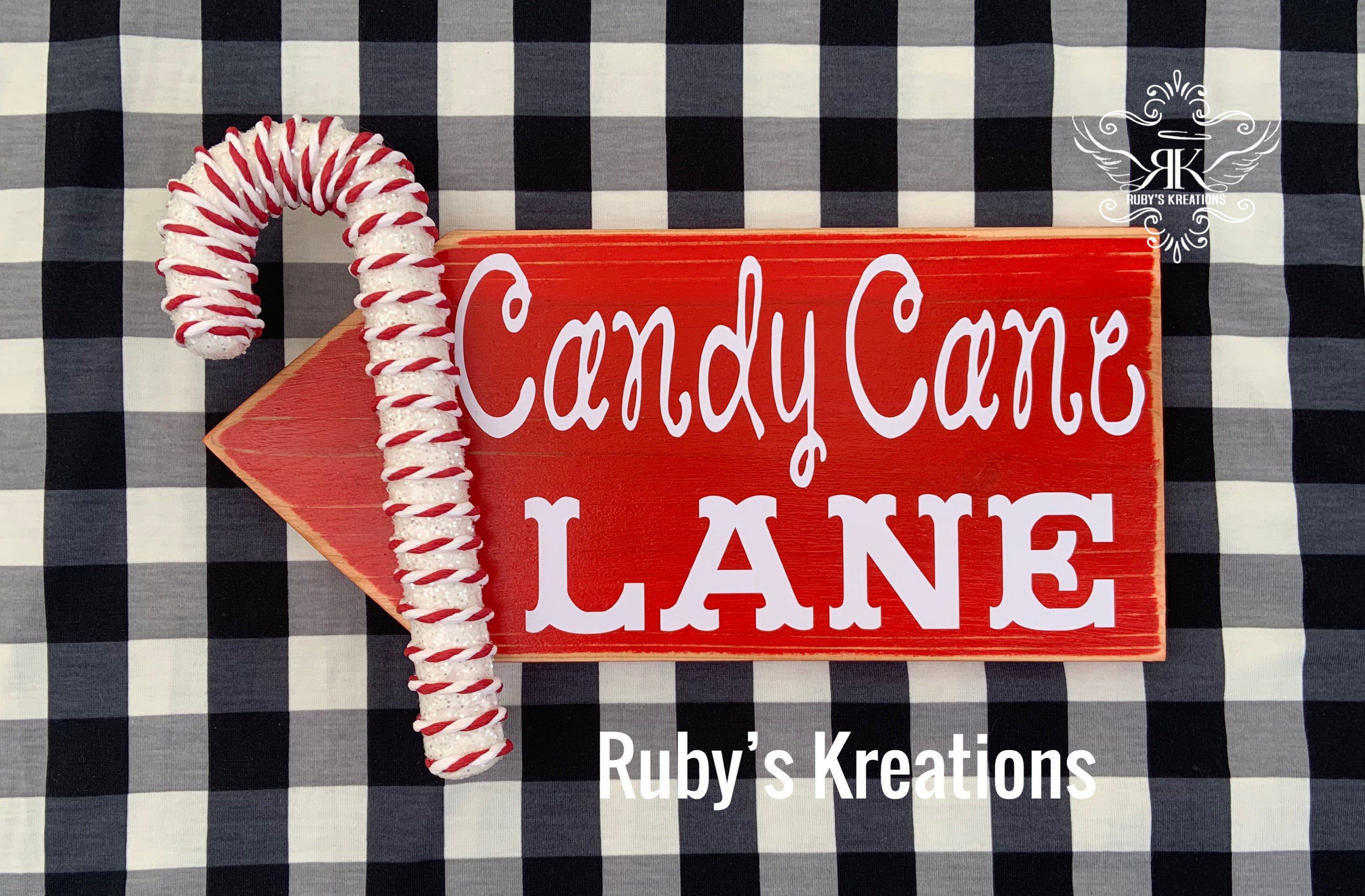 Candy Cane Lane Sign Wreath Sign Candy Decor Christmas