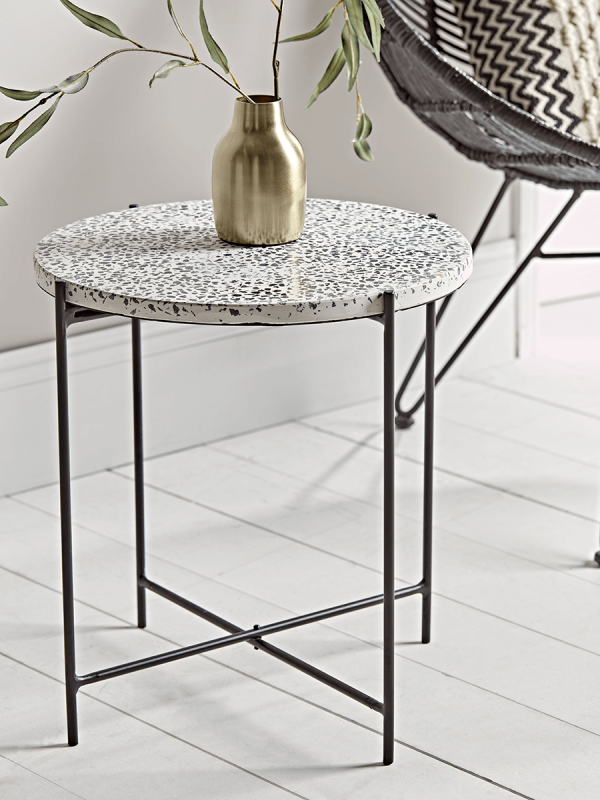 New Monochrome Terrazzo Side Table New This Season Side Table