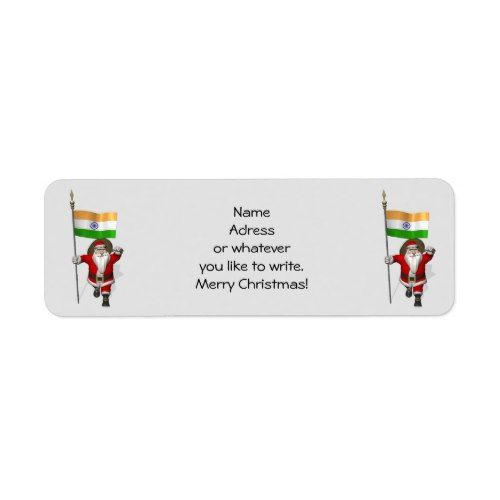 santa claus with ensign of india label popular christmas address
