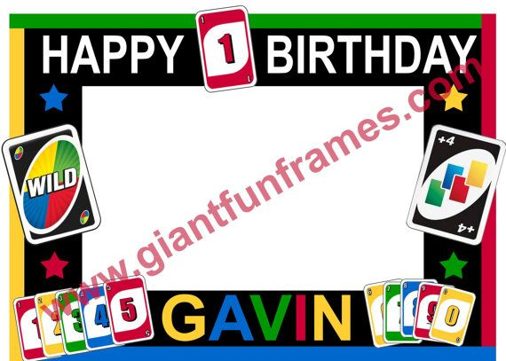 uno card frame  photo booth  photo prop digital file
