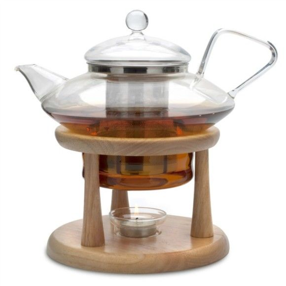 Gorgeous Adagio Glass Teapot Amp Wooden Tea Warmer Stand