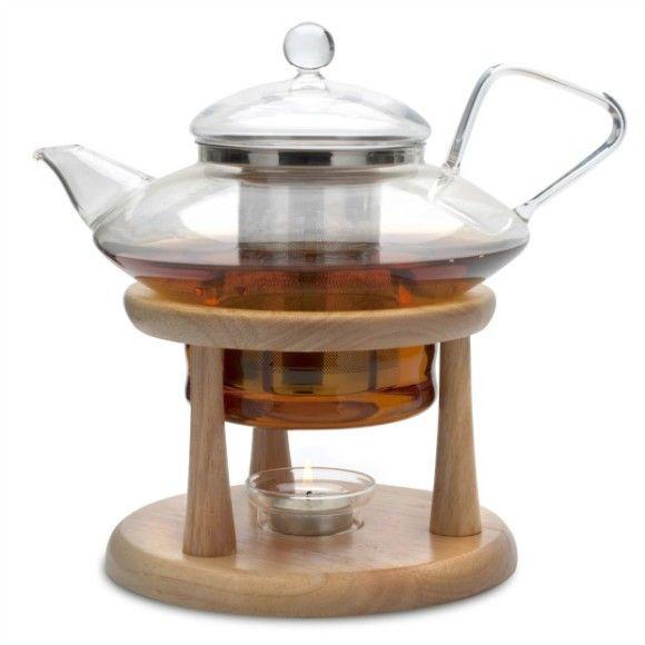 Gorgeous Adagio Glass Teapot Amp Wooden Tea Warmer Stand