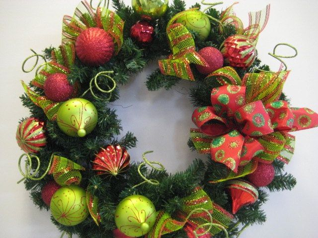 red and grinch green christmas wreath 24 5500 via