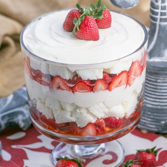 Layers of boozy strawberries angel food cake and cheesecake layers of boozy strawberries angel food cake and cheesecake filling make for a swoon forumfinder Image collections