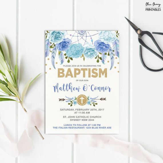 Boy Baptism Invitation Blue and Gold Bohemian Floral Christening – First Birthday and Baptism Invitations