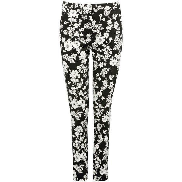M&Co Floral Print Sateen Trousers ($34) ❤ liked on Polyvore featuring pants, trousers, black and ivory, print pants, floral printed pants, ivory pants, woven pants and floral print trousers