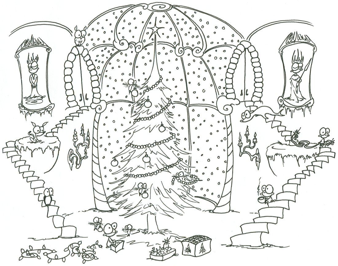 Detailed Coloring Pages For Adults Monkeys Decorating Christmas Tree