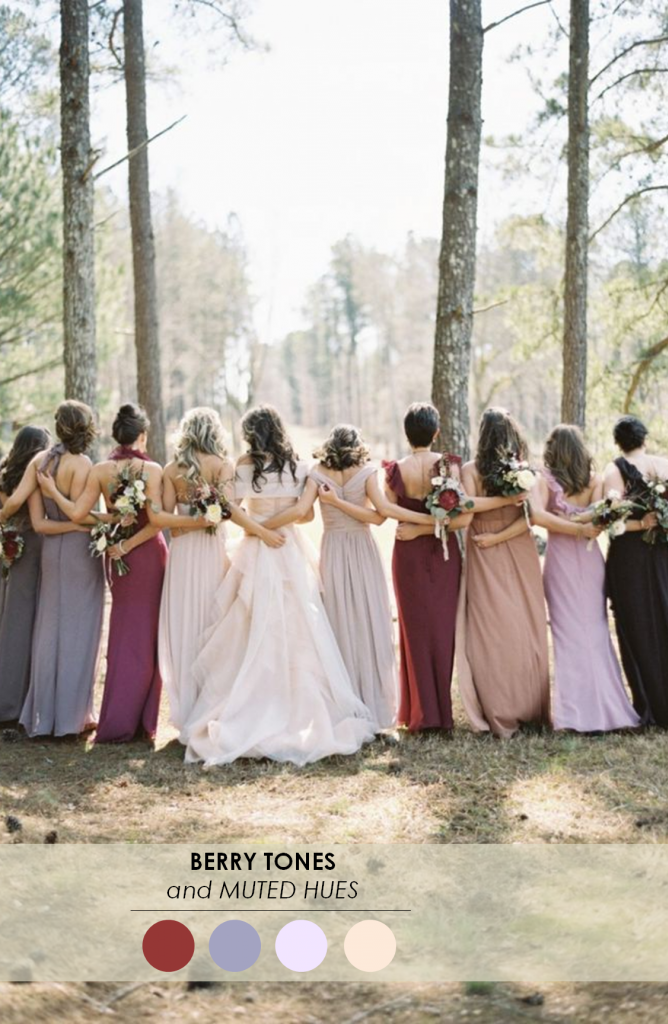 I love the multicolored bridal party, especially for a