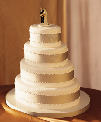 The Perfect Cake Shimmering Bands Of Champagne Colored Faille Ribbon Encircle This Tiered Cream Fondant