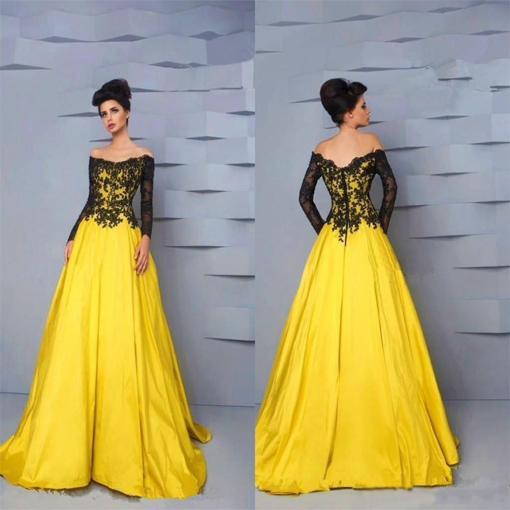 4ce0c0f43d945 Yellow Lace Long Sleeves Gorgeous Formal Cheap Charming Prom Gown ...